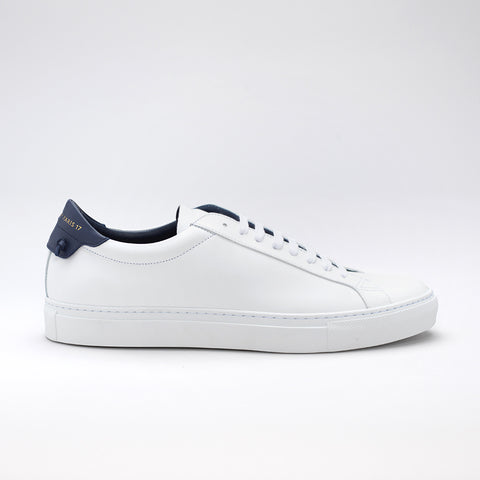 GIVENCHY URBAN STREET LOW-TOP LEATHER TRAINERS WHITE/NAVY