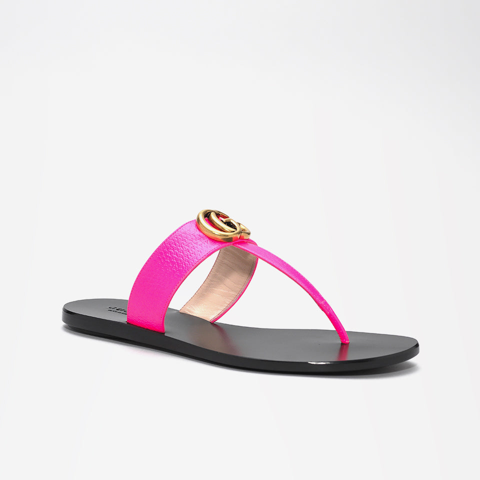 GUCCI MARMONT LOGO-EMELLISHED LEATHER SANDALS PINK
