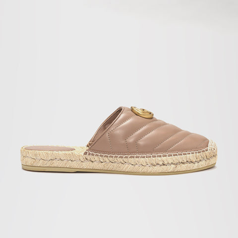 GUCCI LEATHER ESPADRILLE SLIDE DUSTY PINK
