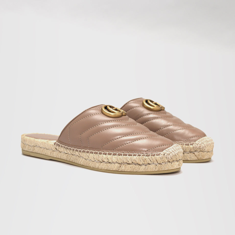 GUCCI LEATHER ESPADRILLE SLIDE DUSTY
