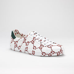 GUCCI NEW ACE GG LOW-TOP LEATHER SNEAKERS