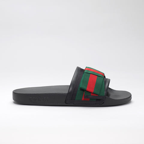 GUCCI BLACK BOW POOL SLIDES WITH SATIN SYLVIE BOW
