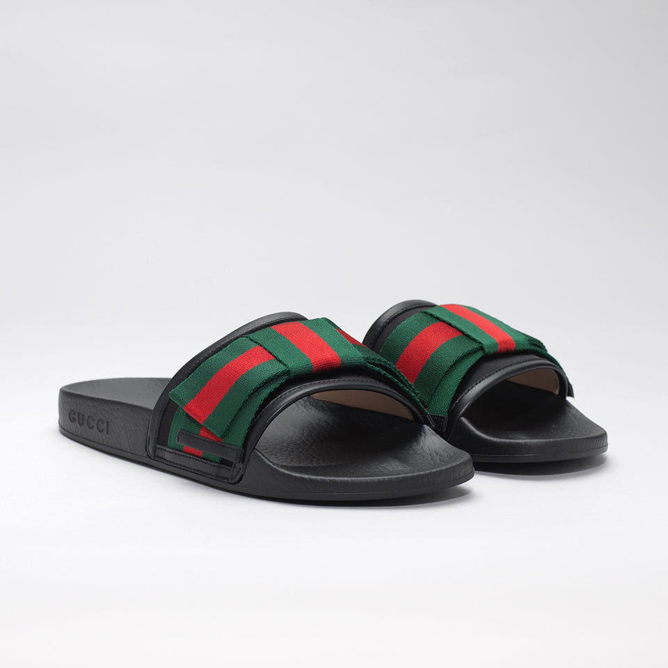 6b7cf853ca82 GUCCI BLACK BOW POOL SLIDES WITH SATIN SYLVIE BOW – Mr Trendz