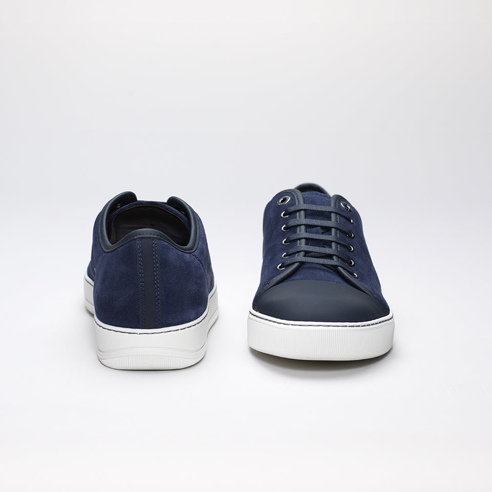 LANVIN LOW-TOP SUEDE TRAINER BLUE