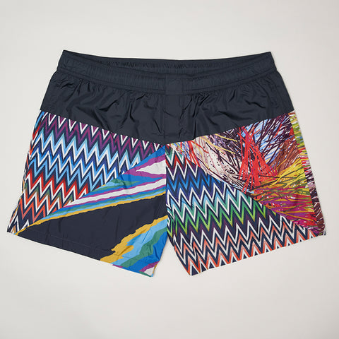 MISSONI MULTI PATTERN SWIMMING SHORTS BLUE