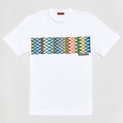 MISSONI GEOMETRIC PATTERN T-SHIRT WHITE