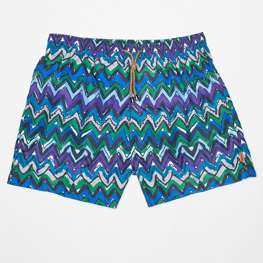 MISSONI ZIGZAG-PRINT SWIMMING SHORT BLUE/GREEN