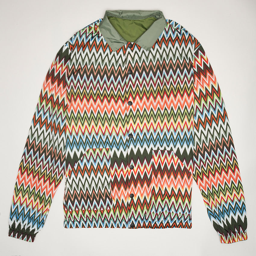 MISSONI PRINTED REVERSIBLE WINDBREAKER JACKET GREEN/MULTI