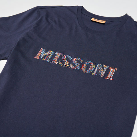 MISSONI EMBROIDERED LOGO T-SHIRT BLUE