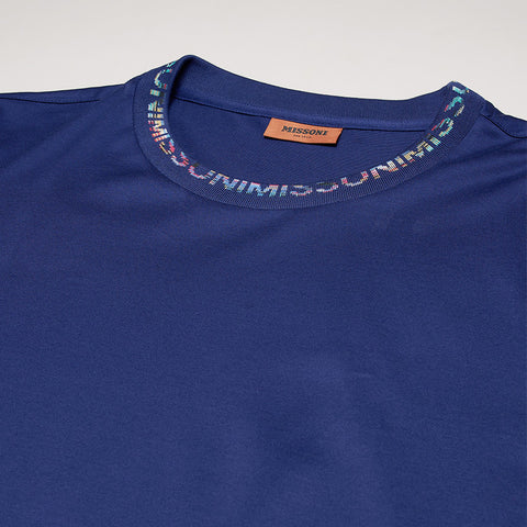 MISSONI NECK LOGO T-SHIRT BLUE