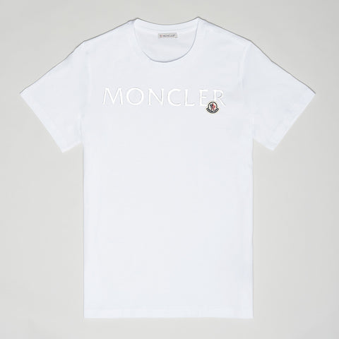 MONCLER METALLIC LOGO T-SHIRT WHITE WOMEN