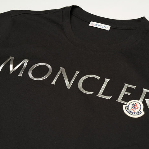 MONCLER METALLIC LOGO T-SHIRT BLACK WOMEN