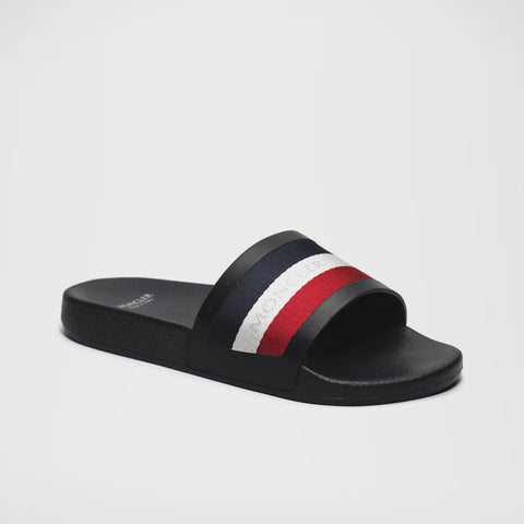 MONCLER NEW BASILE STRIPED SLIDES