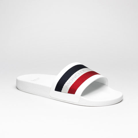 MONCLER BASILE STRIPED SLIDES WHITE