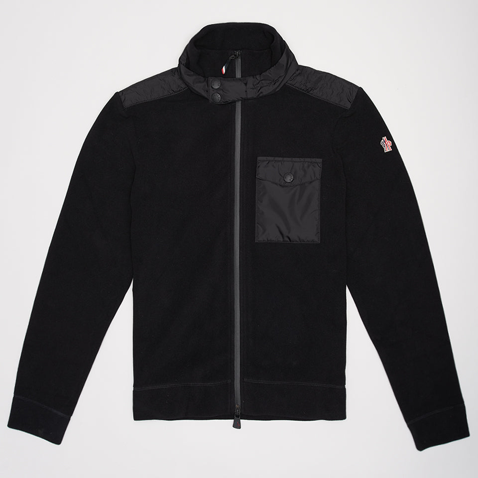 MONCLER GRENOBLE CARDIGAN JACKET BLACK
