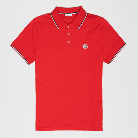 MONCLER LOGO STRIPE POLO RED