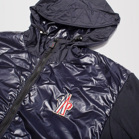 MONCLER PADDED ZIP UP HOODED JACKET CARDIGAN BLUE