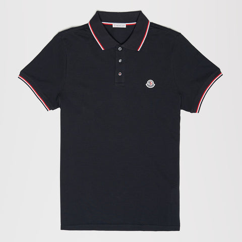 MONCLER LOGO STRIPE POLO BLUE