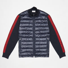 MONCLER TRICOT PANELLED PADDED JACKET NAVY