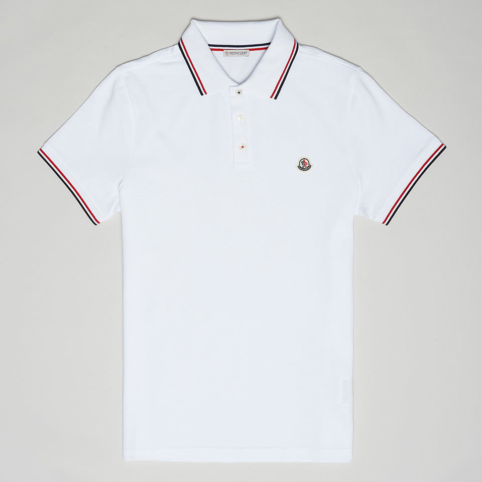 MONCLER LOGO STRIPE POLO WHITE