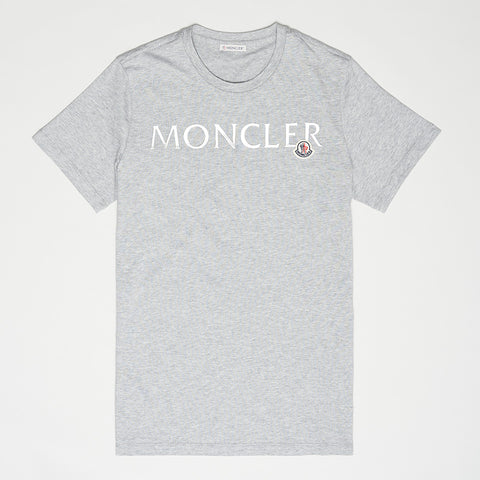 MONCLER METALLIC LOGO T-SHIRT GREY WOMEN