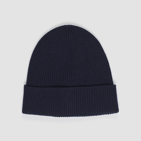 MONCLER LOGO PATCH BEANIE BLUE