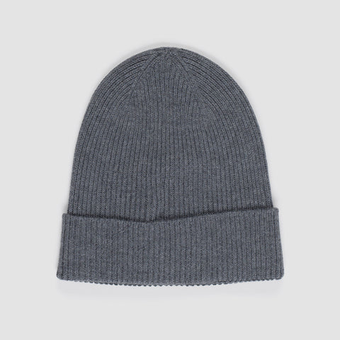 MONCLER LOGO PATCH BEANIE GREY