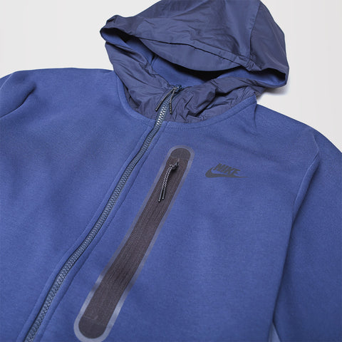 NIKE TECH FLEECE ZIP UP HOODIE MIDNIGHT NAVY THUNDER BLUE