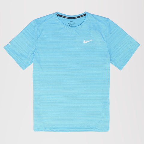NIKE DRI-FIT MILER MENS RUNNING TOP CHLORINE BLUE