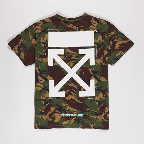 OFF-WHITE LOGO PRINT CAMOUFLAGE COTTON T-SHIRT