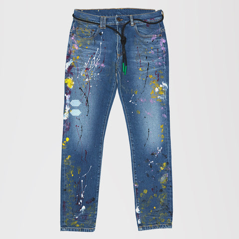 OFF-WHITE PAINT SPLATTERED DENIM SKINNY JEANS