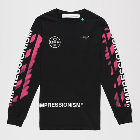 OFF-WHITE STENCIL L/S LONG SLEEVE T-SHIRT BLACK