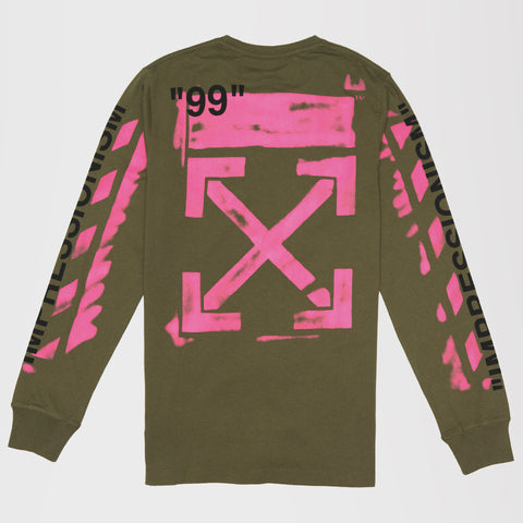 OFF-WHITE PINK LOGO PRINT GREEN T-SHIRT LONG SLEEVE