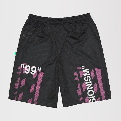 OFF-WHITE PINK SPARY PAINT LOGO MID RISE SHORTS BLACK