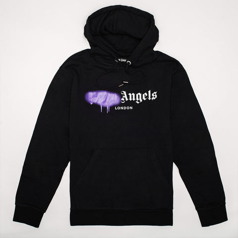PALM ANGELS LOGO-PRINT COTTON-JERSEY HOODY BLACK