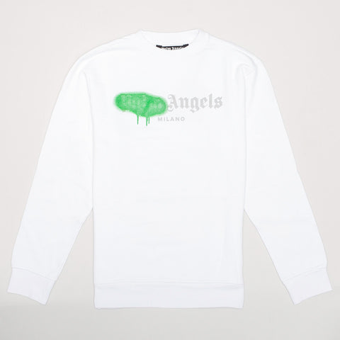 PALM ANGELS PAINT DETAIL LOGO PRINT SWEATSHIRT WHITE