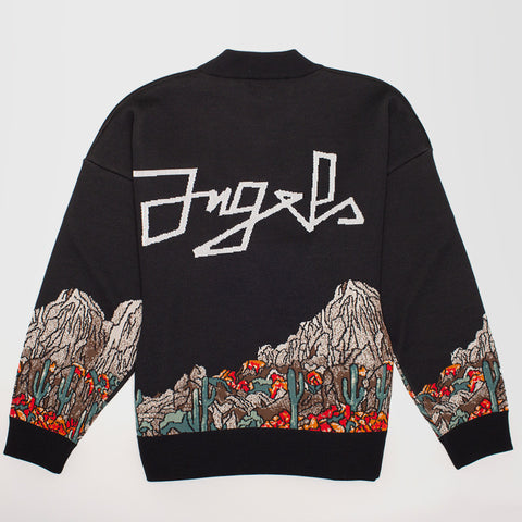 PALM ANGELS PATTERNED INTARSIA-KNIT SWEATSHIRT