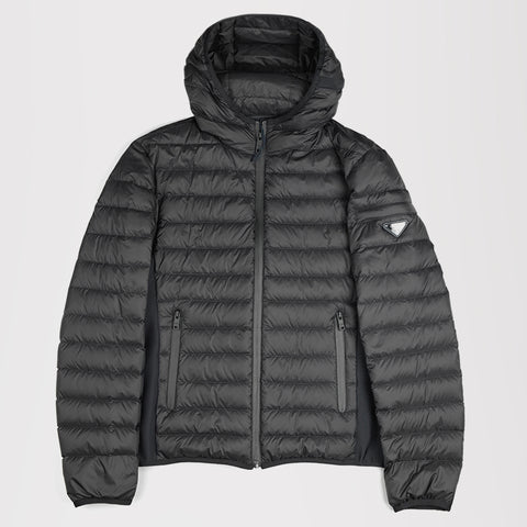 PRADA HOODED PADDED JACKET BLACK