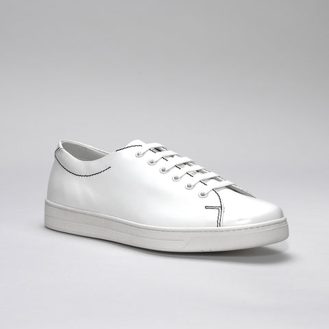 PRADA LEATHER SNEAKERS WHITE