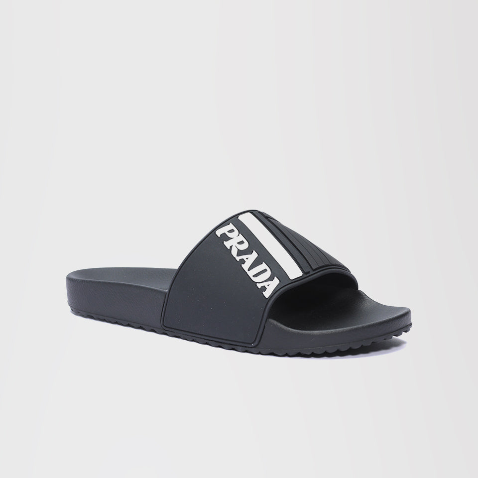 PRADA LOGO EMBOSSED POOL SLIDES BLACK