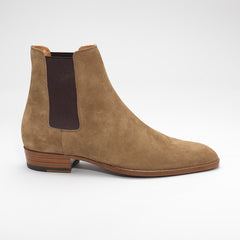 SAINT LAURENT WYATT SUEDE CHELSEA BOOTS TAN-BROWN