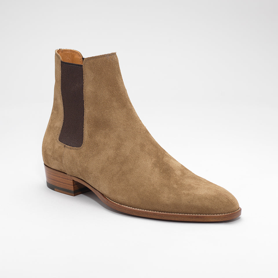 SAINT LAURENT WYATT SUEDE CHELSEA BOOTS TAN-BROWN – Mr Trendz cf30bab84e4c