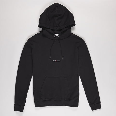SAINT LAURENT LOGO PRINT HOODED COTTON SWEATSHIRT BLACK