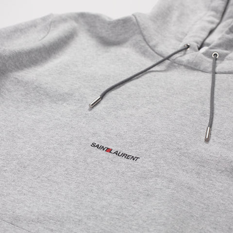 SAINT LAURENT LOGO PRINT HOODED COTTON SWEATSHIRT GREY