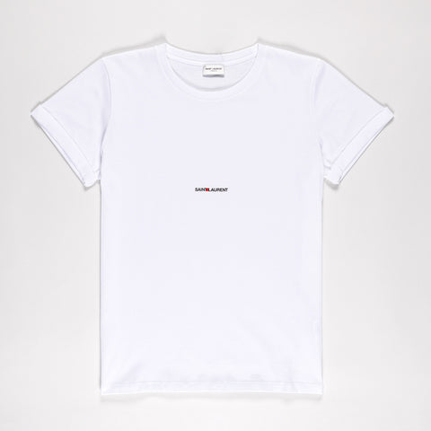 SAINT LAURENT LOGO PRINT COTTON T-SHIRT WHITE