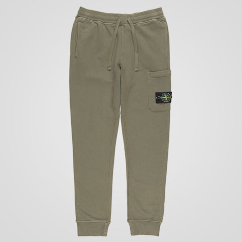 STONE ISLAND LOGO PATCH JOGGING BOTTOMS OLIVE GREEN
