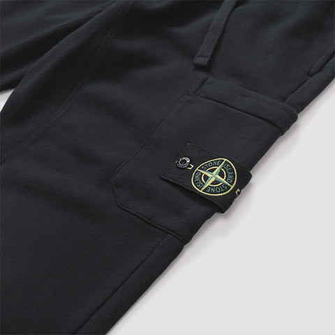 STONE ISLAND LOGO PATCH JOGGING BOTTOMS BLACK