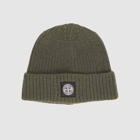 STONE ISLAND RIBBED-KNIT WOOL BEANIE HAT OLIVE GREEN