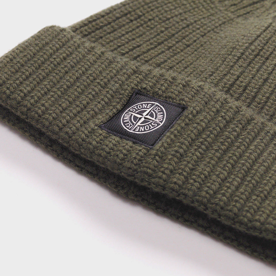 STONE ISLAND RIBBED-KNIT WOOL BEANIE HAT OLIVE GREEN – Mr Trendz b7a6aa968ae