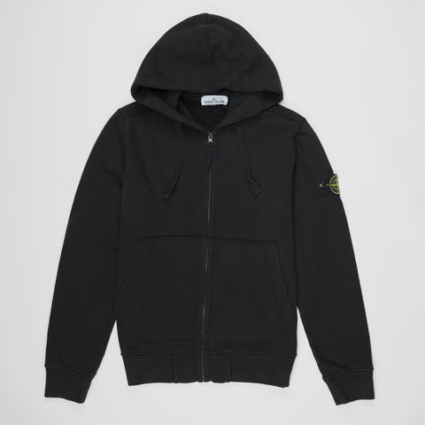 STONE ISLAND LOGO PATCH ZIP UP HOODIE BLACK
